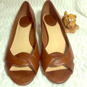 Cole Haan Brown Low Wedge Peep Toe Shoes  8.5 B